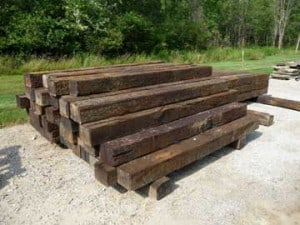 Railroad ties in use for landscaping